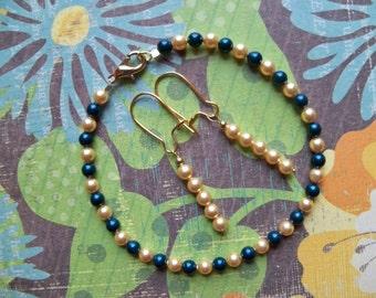 Czech Glass Pearl BRACELET and EARRINGS/Blue and Gold Jewelry/Size Medium Bracelet