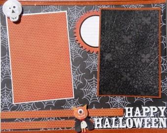 HAPPY HALLOWEEN 12 x 12 premade scrapbook page - halloween