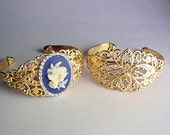 2 Gold Filigree Adjustable Cuff Bracelets, Jewelry making supplies,