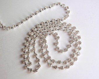 "1 Ft  (2.5 mm) Brass Grade ""A"" Rhinestone Chain, Jewelry making & craft supply, Silver Plated metal"