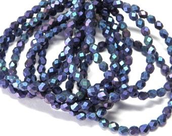 Sale 6mm Czech Iris Blue Matte faceted round glass beads (30)