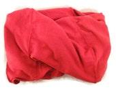 Hemp and Organic Cotton Jersey Knit Neck Warmer Infinity Scarf Scarlet Red Hemp Handmade