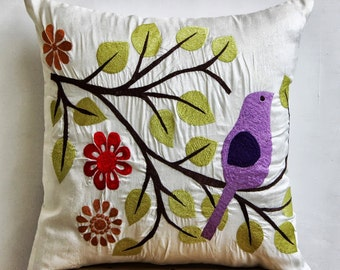 "Luxury  Multi Color Pillow Cases, Pruple Cuckoo Bird Pillows Cover Square  18""x18"" Silk Pillows Cover - Birdy Style"
