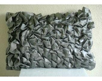 Decorative Oblong / Lumbar Throw Pillow Cover Couch Sofa Pillow Toss Pillow 12x16 Gray Silver Satin Ruffles Pillow Case Vintage Gray Ruffles