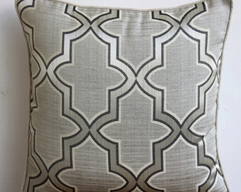 "Handmade Grey Decorative Pillow Cover, 16""x16"" Cotton Pillow Covers, Square  Lattice Trellis Pillow Cover - Gray Trellis"