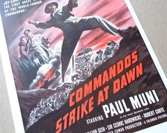 COMMANDOS Strike at Dawn vintage movie ad Paul Muni World War II . movie poster . magazine page . film ad . paper ephemera . wall art