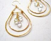 Hammock Earrings - gold chandelier earrings, aquamarine earrings, hammered gold statement earrings, gold double teardrop earrings, E12G