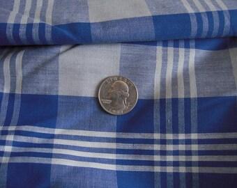 1 + Yards Vintage 1950s Plaid Blue Cotton Large Scale Fabric