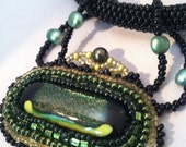 Olivine and Chartreuse Bead Embroidered Dichroic Glass Pendant on  Bead Woven Cord and Sterling Silver Chain