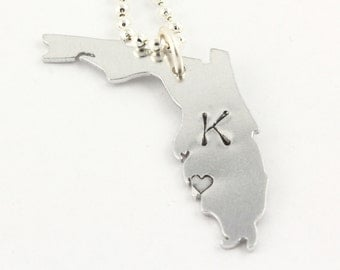 Personalized State of Florida Necklace - Florida State - Hand Stamped State Outline - I Love Florida