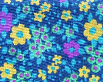 Vintage Cotton Yardage - Mid Century Floral - Mod Flowers - Bright Colors on Navy