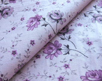 Sweet Vintage Cotton Fabric - Small Print FLORAL - Purple Violet Long Stem Roses