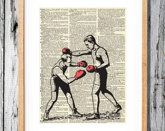 Old Time Boxers - Art Print on Vintage Antique Dictionary Paper - Boxing Retro - Circus Side Show