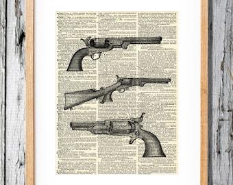 Vintage Colt Pistols Etching- Art Print on Vintage Antique Dictionary Paper - Colt 45, Guns, Gun