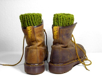 Chunky Evergreen Boot Cuffs, Knit Leg Warmers for Men or Women