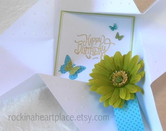 Folded Pinwheel BIRTHDAY Card, in white, with green gerber daisy and turquoise band
