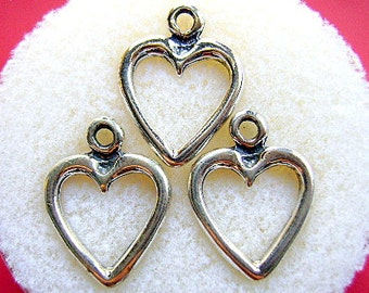 CHARM, HEART, Sterling, Silver, Open, Love, Filligre, Sweetheart, Earring, Pendant, Toggle, Lanyard