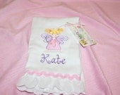 Fairy- Pink and Purple Embroidered Burp Cloth for a Girl