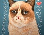 Grumpy Cat Art 8 x 10 Print...Love You ... Tardar Sauce