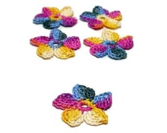 Crochet Applique Mini Flower Motif Flower Embellishment Crochet Flower Applique Crochet Motif Yellow Blue Pink Plum Crochet Flower Motif