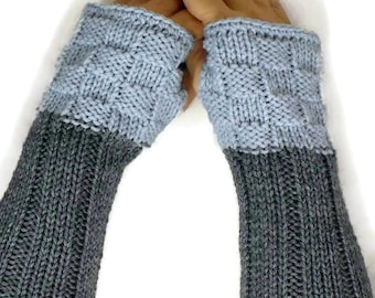 Knit Fingerless Gloves Grey Fall Gloves Silver Winter Gloves Warm Gloves Winter Accessories Fashion Accessories Texting Gloves