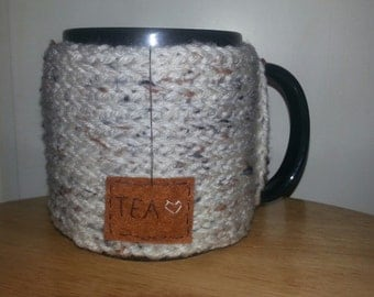 knitted tea mug cozy cup cozy in aran fleck ivory