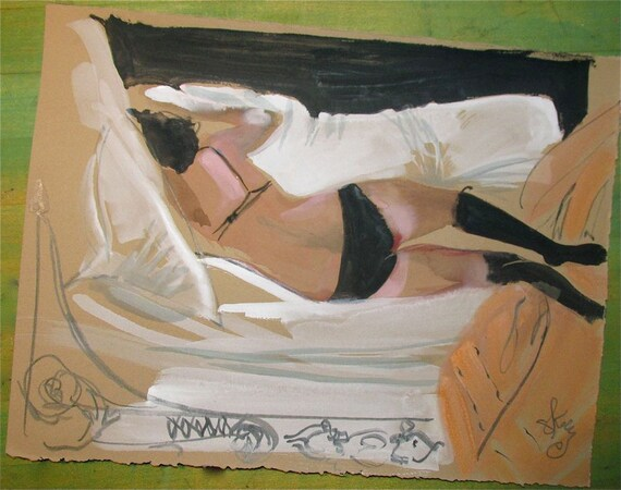 Boudoir Session 1.4 -original watercolor nude painting by Gretchen Kelly