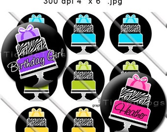 Instant Download - Editable Zebra Layered Cake Bottle Cap Collage Digital Set 1 Inch Circle Happy Birthday 4x6 JPEG