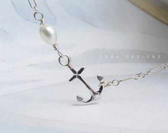 sideway anchor bracelet, bridesmaid jewelry, sterling silver anchor pearl bracelet, Sailor's pride simple delicate everyday bracelet