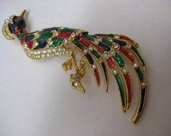 Bird Blue Red Green Gold Brooch Rhinestone Vintage Pin