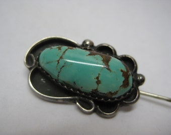 Turquoise Silver Stick Pin Southwest Vintage