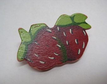 Strawberry Red Green Brooch Vintage Pin