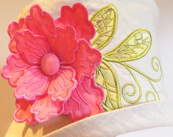 3-D Flower Machine Embroidery Designs sc078d and Sun Hat Sewing Directions in PDF