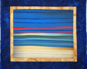 Handmade Fiber Art Quilt Wall Hanging Sunset at the Beach