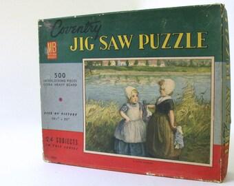 """Vintage 1930's Coventry Milton Bradley """"A Dutch Bargain"""" 500 Piece Jigsaw Puzzle"""