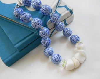 Dynasty necklace - ceramic, calcite, crackle glass, Swarovski crystals, blue, white