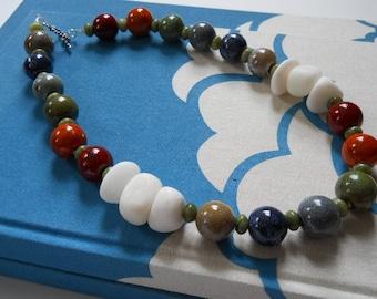 Over the Rainbow necklace - multi-colored, white, ceramic, calcite, serpentine