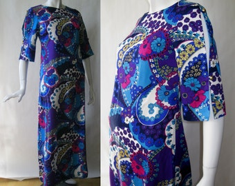 1960's Hawaiian dress, full length, with slashed elbow sleeves, brilliant blue, purple, turquoise, yellow, white flower print, sm / md (6-8)