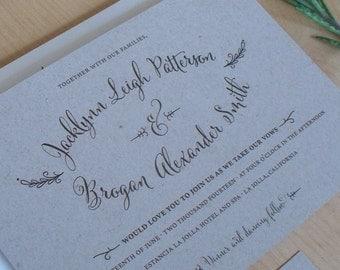 Kraft Paper Wedding Invitation, rustic invitation, Outdoor Wedding, Hand Drawn Calligraphy Invitation, SAMPLE