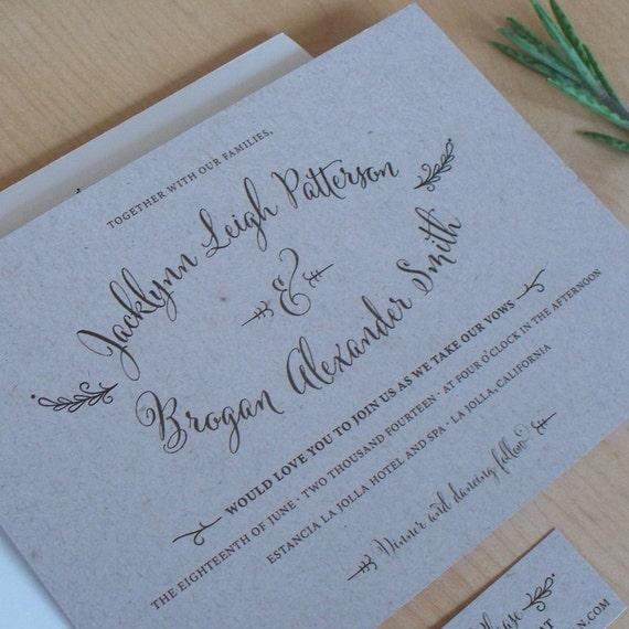Outdoor Themed Wedding Invitations: Kraft Paper Wedding Invitation Rustic Invitation Outdoor