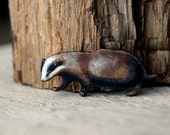 Badger Brooch,  Woodland Animal Brooch, North American Wildlife Series