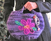 Little Purple Purse or Evening Bag – A Hand-knit Felted Bag with Sparkle and Bling