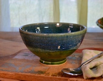 Stoneware bowl, ceramic serving, cereal bowl, glazed in blue and green, handmade by hughes pottery