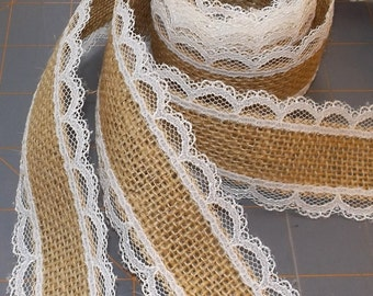Burlap and Ivory Lace Ribbon - 1.5 inch x 3 yards