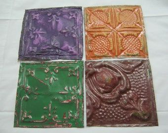 ANTIQUE Reclaimed Tin Ceiling Set of 4 6x6 Crafters Art Tile S 1513-13
