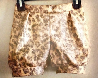 READY to SHIP Girls Bubble Shorts sz 5 - Taming the Beast -Gold Metallic Leopard Print Faux Suede Vintage Circus Costume Lion Tamer Bloomers