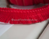 9 yards Fun Fringe - Vintage Trim New Old Stock  60s 70s Mod Red Holiday Christmas (Reserved)