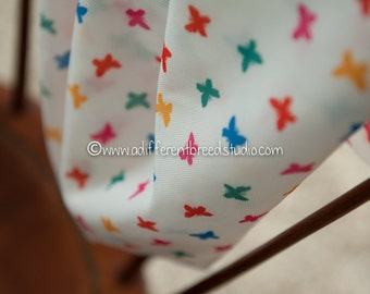 Colorful Butterflies - Vintage Fabric 70s New Old Stock Novelty Juvenile