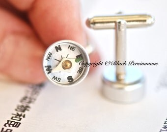 Compass CuffLinks - Working Compass - Made in USA Components - Insurance Included