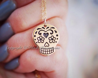 Yatzil Necklace - Large Natural Bronze Mexican Sugar Skull 14K Gold Filled Delicate Chain Dia de los Muertos -  Free Domestic Shipping